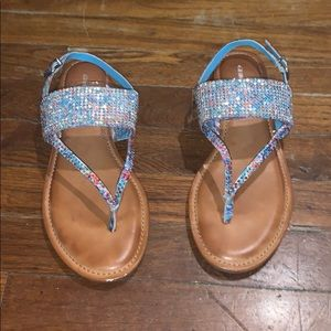 Gianni Bini multi color rhinestone sandals